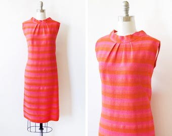 60s mod dress, vintage 1960s striped wool dress, hot pink and orange sheath dress, medium large ml