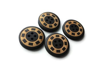 4 black and natural wooden buttons 25mm (BB125Y)