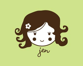 Custom Rubber Stamp   Custom Stamp   Personalized Stamp   Gifts for Her   Doll Stamp   Girl Stamp   Jen   C92