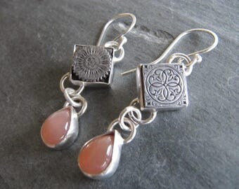 Earrings of Vintage Letterpress Blocks, Peach Moonstone, and Sterling Silver