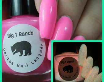 Glow-in-the-Dark Nail Polish - Pink - SUNRISE - Custom Blended Nail Polish/Lacquer - Regular Full Sized Bottle (15 ml size)