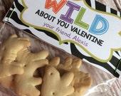 PRINTABLE DIY Wild About You Zebra Valentine's Day Treat Bag Topper