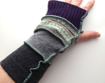 Grey, Green and Purple Patterned Recycled Wool Arm Warmers Fingerless Gloves