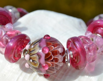 LOVE YOU MORE-Handmade Lampwork and Sterling Silver Bracelet