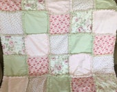 Shabby Chic baby or lap rag quilt  with Roses
