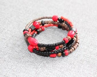 bracelet tourbillon, bracelet wrap, bracelet enroulable, rouge, noir, bois, bracelet noir, bracelet rouge, funky, fait au quebec, moderne