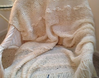 Natural Hand Knitted All Wool Afghan