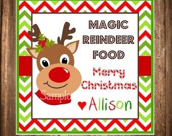 Reindeer Gift Tags, Magical Reindeer Food, PRINTABLE Christmas Gift Tags, Holiday Hang Tags, Holiday Labels, Rudolf Favor Tags, You print