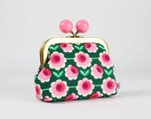 Metal frame coin purse with color bobble - Blossom grün - Color dad / Big retro flowers / Pink fuchsia green