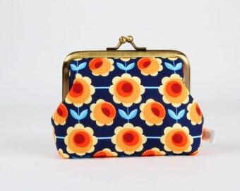 Metal frame change purse - Blossom blau - Deep dad / Retro fabric / Vintage style / Blue red yellow orange flowers