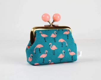 Metal frame coin purse with color bobbles - Mini flamingo on teal - Color mum / Korean fabric / Blue green peach pink
