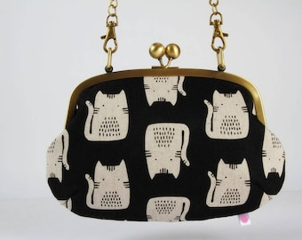 Metal frame purse with shoulder strap - Cats on black - Swing purse / Retro bag / Maker Maker by Sarah Golden / white black pink