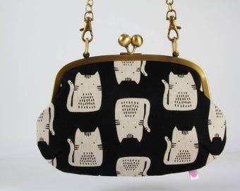 Metal frame purse with shoulder strap - Cats on black - Swing purse / Retro bag / Maker Maker by Sarah Golden / white black pink