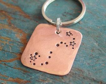 Zodiac Keychain, Custom Handstamped Keychain, Copper, Nickel, Constellation, Horoscope, Birthday, For Her, For Him, Scorpio, Gemini, Cancer