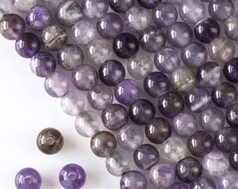 Large Hole Amethyst 8mm Round with 2.5mm Drilled Hole