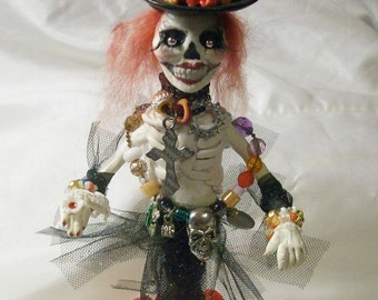 Day of the Dead SKELETON GIRL polymer clay Art Doll Halloween decoration