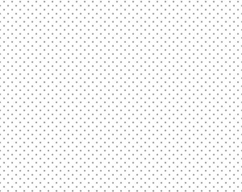 Swiss Dots White with Silver Metallic Dots Fabric by Riley Blake sold in 1/2 yard increments