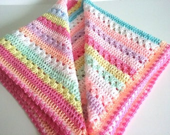 Baby Blanket in Rainbow Colours Crocheted