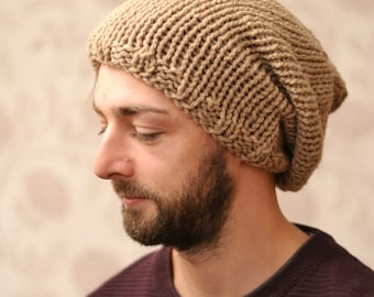 "Mens Beige Chunky Knitted Oversized Slouchy Beanie,  Heads 23"" - 24"""