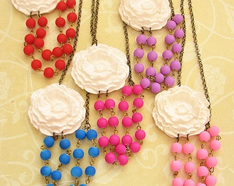 Statement Necklace Beaded Necklace Flower Necklace Bridesmaid Jewelry Bridal Shower Gift For Her