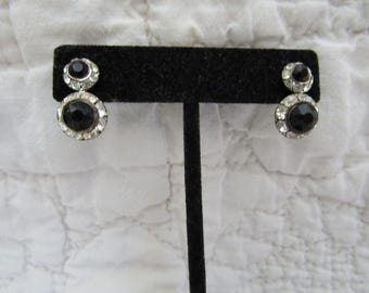 Vintage Screwback Earrings Rhinestone and Black stone