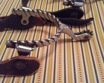 Vintage-Antique-Old-Style-Leather and Metal-Spurs-Cowboy-Rodeo-Western-Black-SASS