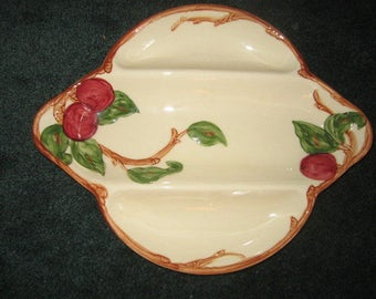 Vintage 1960s Franciscan Pottery APPLE Divided Relish Serving Tray PERFECT