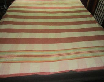 Vintage Lightweight 1930s Art Deco Rust and Green Striped Camp Blanket