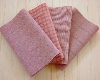 "Hand Dyed Wool Felt, POTTERY, Four 6.5"" x 16"" pieces in Dusty Coral, Perfect for Rug Hooking, Applique' and Crafting"