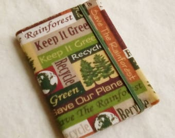 Fabric Covered Pocket Memo Book, KEEP It GREEN, Refillable Mini Composition Notebook Cover