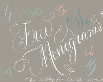 FREE hand calligraphy monogram upgrade for new letterpress invitation clients! Sale!
