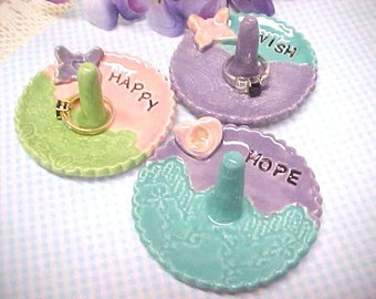 Pottery Ring Dish, WISH, HAPPY, HOPE, Stamped Word, Jewelry Holder, Clay Trinket Dish, Lavender, Turquoise, Sage Green, Pink, Engraved Word