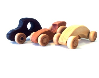 3 Hardwood little cars cherry maple walnut with cotton bag