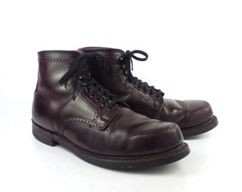 Work Leather Boots Vintage 1970s Burgundy Dress Lace up men's size