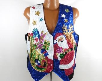 Ugly Christmas Vest  Sweater Vintage Sparkly  Sequin Santa size XL