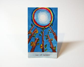 Six of Wands - Original Watercolor Painting - Tarot Card