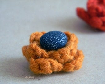 Flower lapel pin. Wool boutonniere. Men accessories. Men's buttonhole. Flower stick pin. Pumpkin orange or Brick red