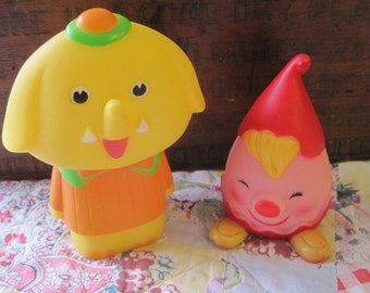 Two Vintage Rubber Baby Toys Elephant and Clown