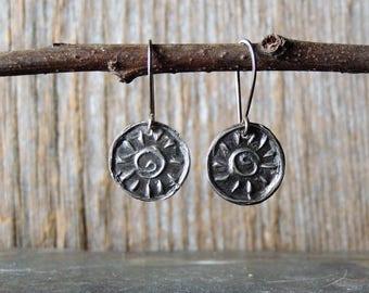 Artisan Jewelry, Sterling Silver Drop Earrings, Spiral Suns, Handmade Silver, Handmade Ear Wires, Handmade Earrings, Rustic Jewelry
