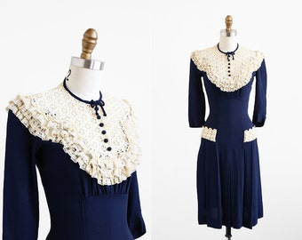 r e s e r v e d - vintage 1930s dress / 30s dress / Navy Blue and Lace Day Dress