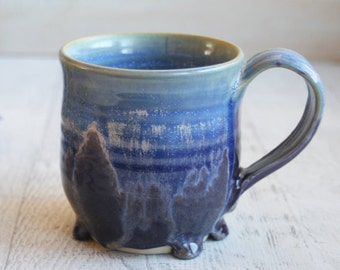 13 oz. Melting Shades of Blue and Purple Glazes Coffee Cup Handmade Pottery Mug Wheel Thrown Stoneware Ready to Ship Made in the USA