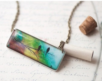 Two birds necklace - Green necklace - Bird necklace  - Ombre jewelry (N044)