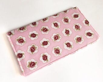 Rose Pink Floral Checkbook Cover