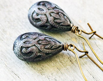 Indigo Blue Western Teardrop Earrings, Antiqued Bronze