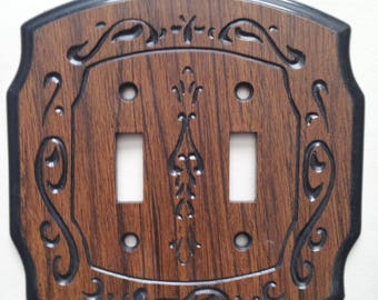 Vintage double toggle Wall switchPlate  Wood Look