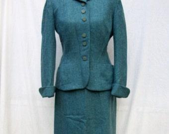 SALE 40s Blue Wool Suit size Medium Mary Lane Herringbone Suit