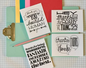 handlettered thank you note variety pack (set of 4)