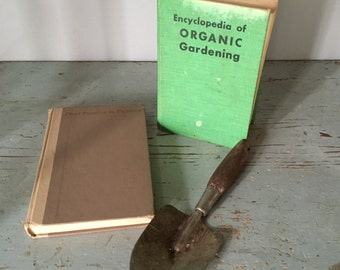 vintage organic gardening books and accessory