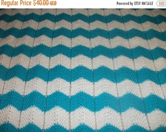 Christmas White and Turquoise Chevron Baby Blanket
