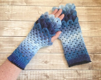 Blue Dragon Scale Gloves, Blue Women's Arm Warmers